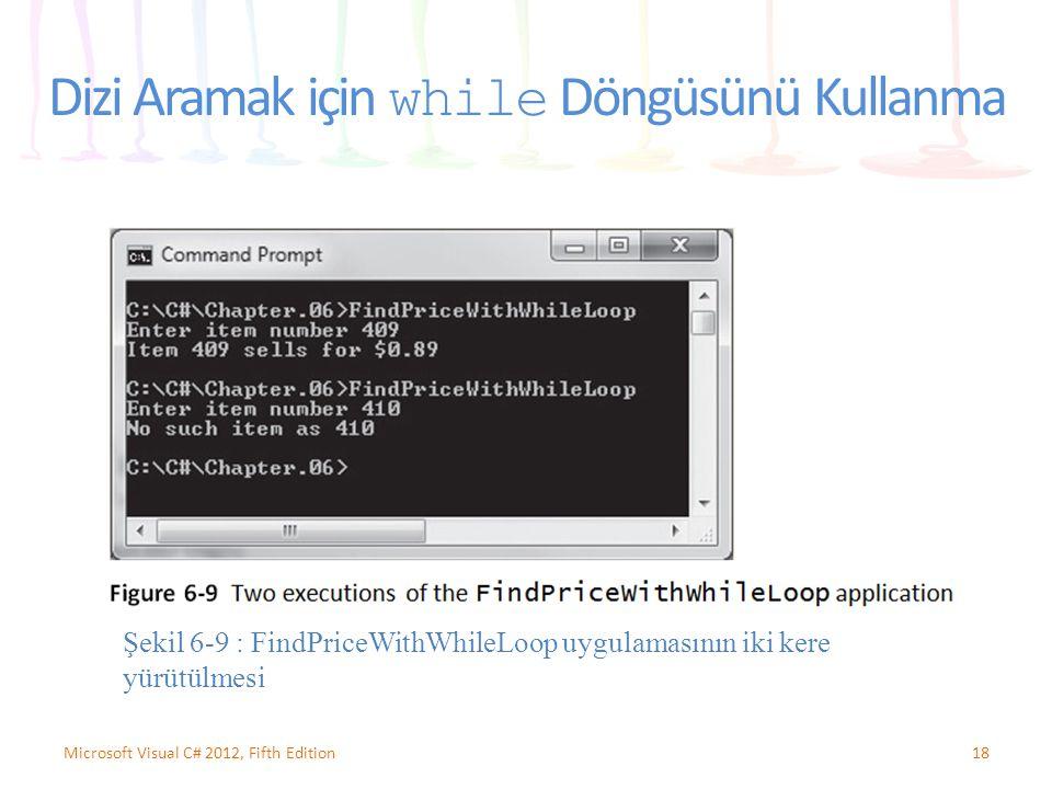 Dizi Aramak için while Döngüsünü Kullanma 18Microsoft Visual C# 2012, Fifth Edition Şekil 6-9 : FindPriceWithWhileLoop uygulamasının iki kere yürütülm