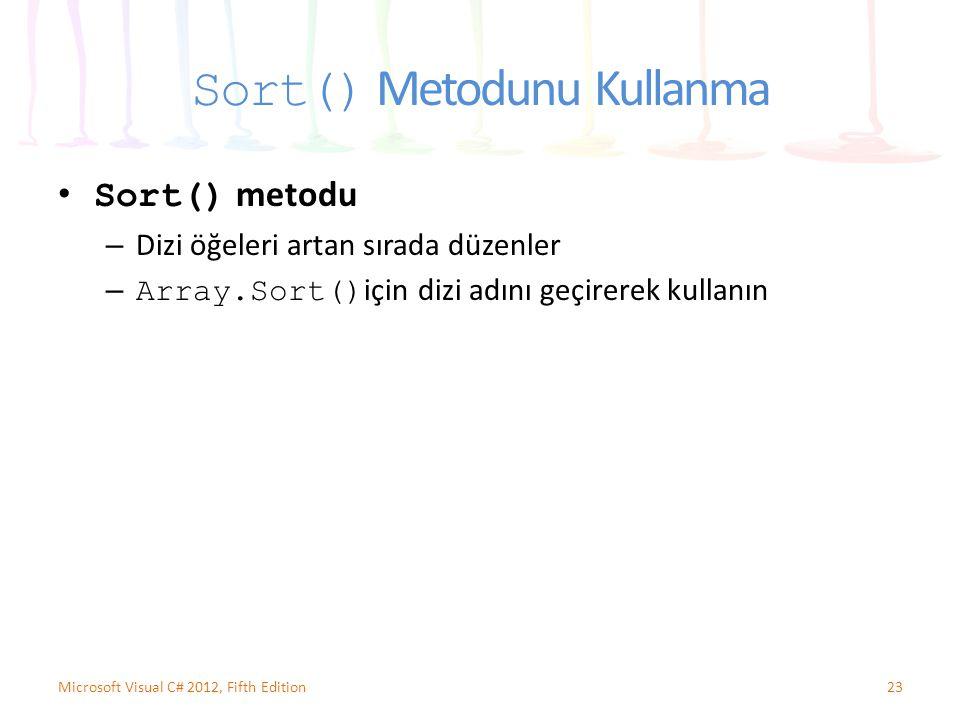Sort() Metodunu Kullanma Sort() metodu – Dizi öğeleri artan sırada düzenler – Array.Sort() için dizi adını geçirerek kullanın 23Microsoft Visual C# 20