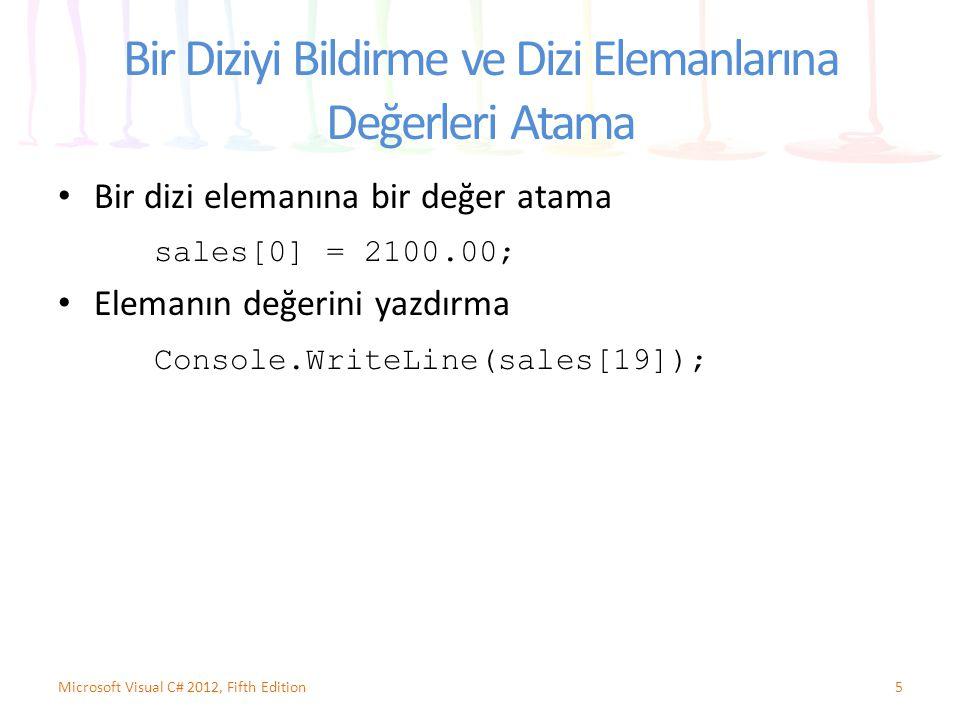 Bir Diziyi Bildirme ve Dizi Elemanlarına Değerleri Atama Bir dizi elemanına bir değer atama sales[0] = 2100.00; Elemanın değerini yazdırma Console.Wri