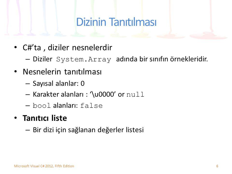 Dizinin Tanıtılması C#'ta, diziler nesnelerdir – Diziler System.Array adında bir sınıfın örnekleridir. Nesnelerin tanıtılması – Sayısal alanlar: 0 – K