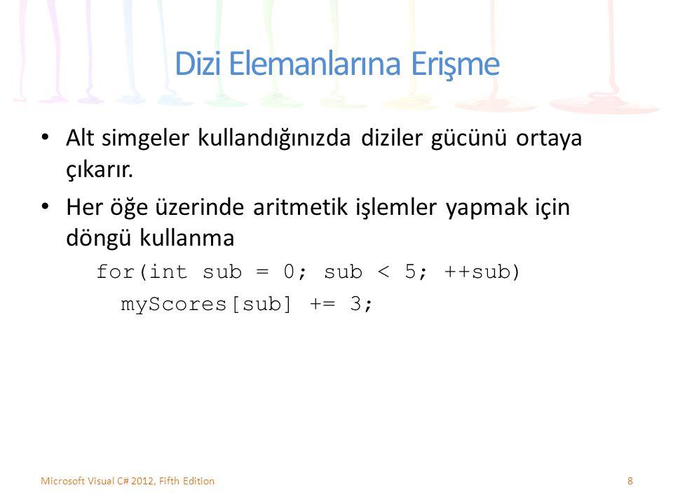 Dizi Elemanlarına Erişme Alt simgeler kullandığınızda diziler gücünü ortaya çıkarır. Her öğe üzerinde aritmetik işlemler yapmak için döngü kullanma fo