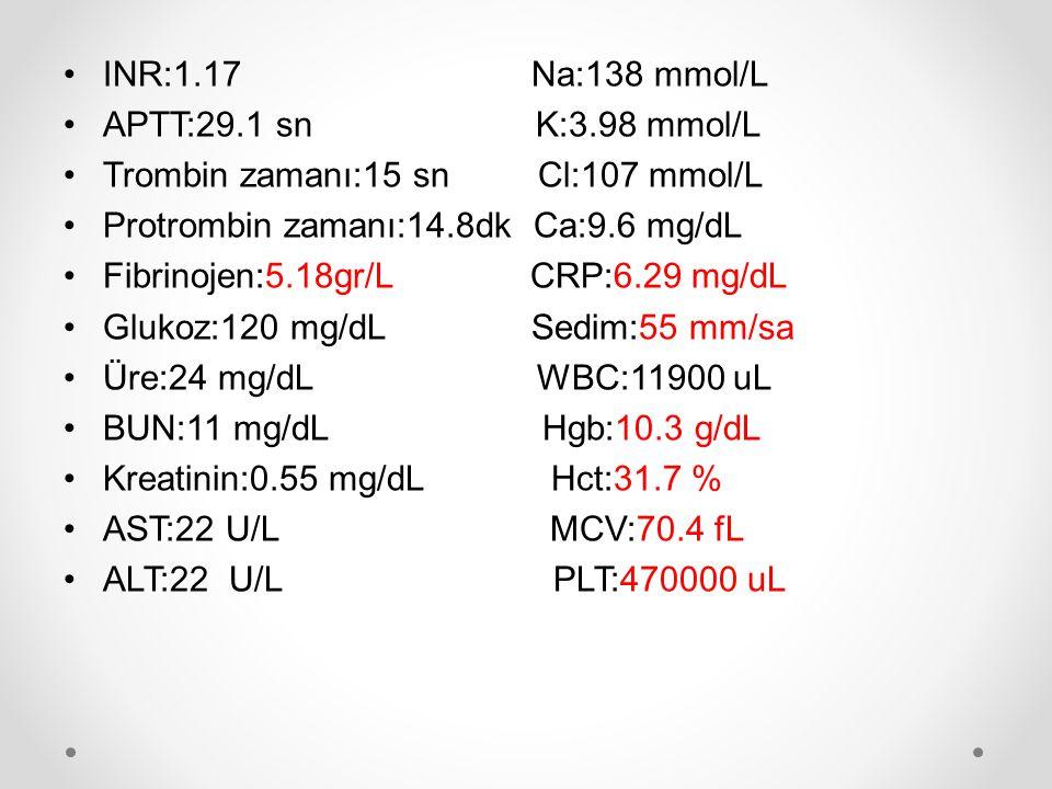 INR:1.17 Na:138 mmol/L APTT:29.1 sn K:3.98 mmol/L Trombin zamanı:15 sn Cl:107 mmol/L Protrombin zamanı:14.8dk Ca:9.6 mg/dL Fibrinojen:5.18gr/L CRP:6.2
