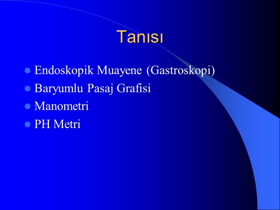Tanısı Endoskopik Muayene (Gastroskopi) Baryumlu Pasaj Grafisi Manometri PH Metri