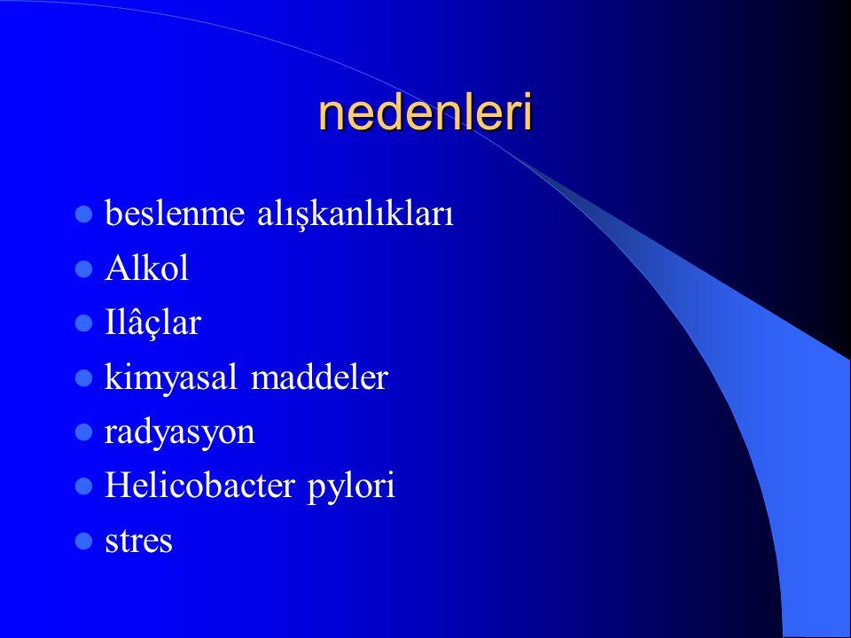 nedenleri beslenme alışkanlıkları Alkol Ilâçlar kimyasal maddeler radyasyon Helicobacter pylori stres