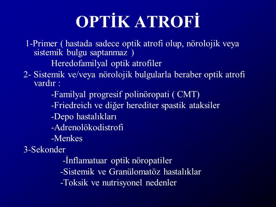 OPTİK ATROFİ 1-Primer ( hastada sadece optik atrofi olup, nörolojik veya sistemik bulgu saptanmaz ) Heredofamilyal optik atrofiler 2- Sistemik ve/veya