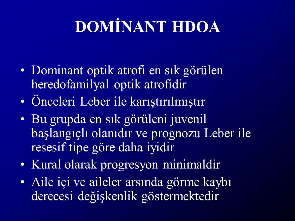 DOMİNANT HDOA Dominant optik atrofi en sık görülen heredofamilyal optik atrofidir Önceleri Leber ile karıştırılmıştır Bu grupda en sık görüleni juveni