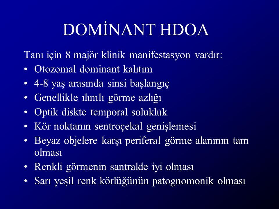DOMİNANT HDOA Tanı için 8 majör klinik manifestasyon vardır: Otozomal dominant kalıtım 4-8 yaş arasında sinsi başlangıç Genellikle ılımlı görme azlığı