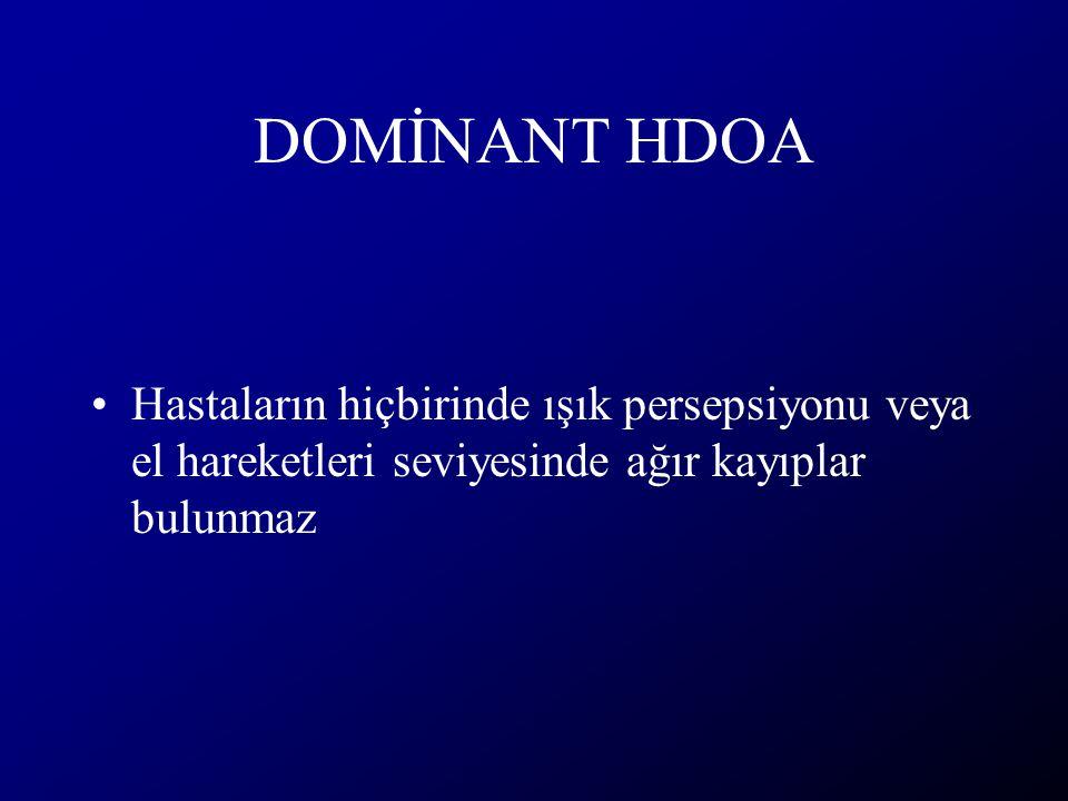 DOMİNANT HDOA Hastaların hiçbirinde ışık persepsiyonu veya el hareketleri seviyesinde ağır kayıplar bulunmaz
