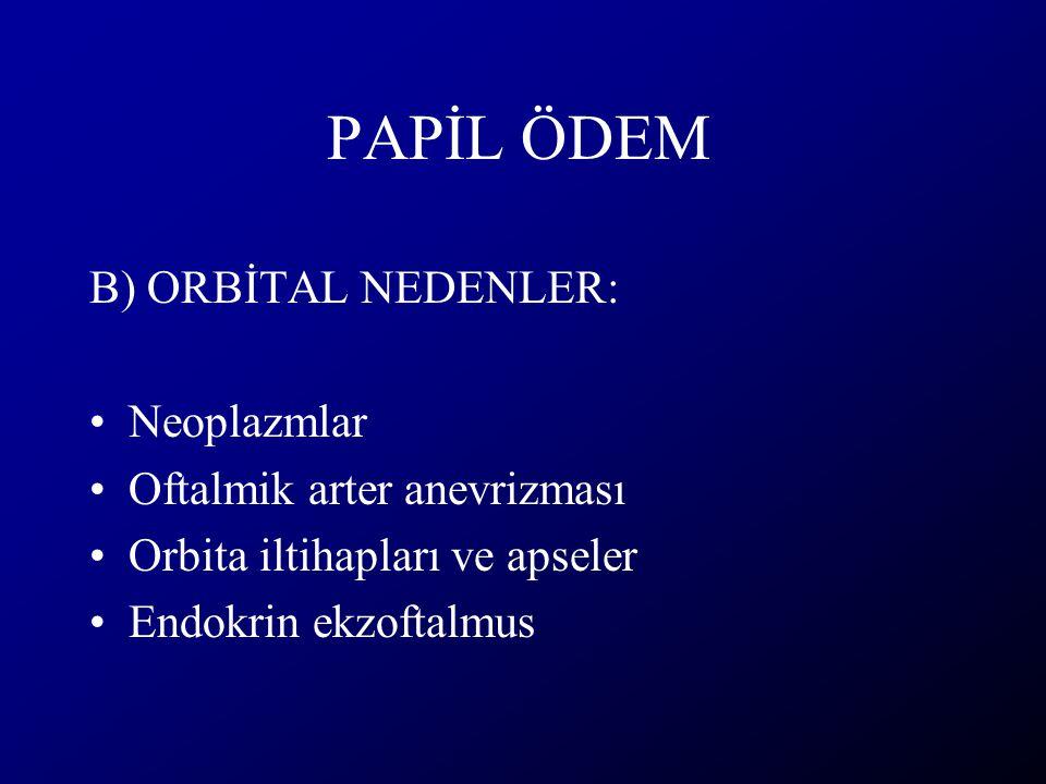 PAPİL ÖDEM B) ORBİTAL NEDENLER: Neoplazmlar Oftalmik arter anevrizması Orbita iltihapları ve apseler Endokrin ekzoftalmus
