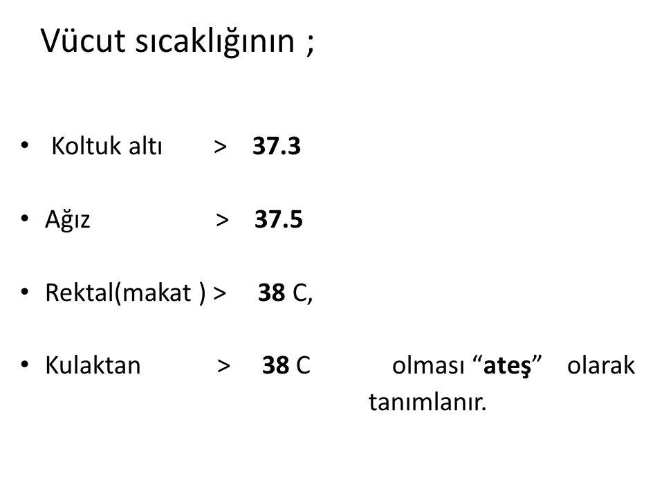 """Vücut sıcaklığının ; Koltuk altı > 37.3 Ağız > 37.5 Rektal(makat ) > 38 C, Kulaktan > 38 C olması """"ateş"""" olarak tanımlanır."""