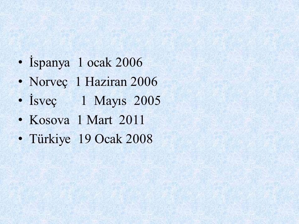 İspanya 1 ocak 2006 Norveç 1 Haziran 2006 İsveç 1 Mayıs 2005 Kosova 1 Mart 2011 Türkiye 19 Ocak 2008