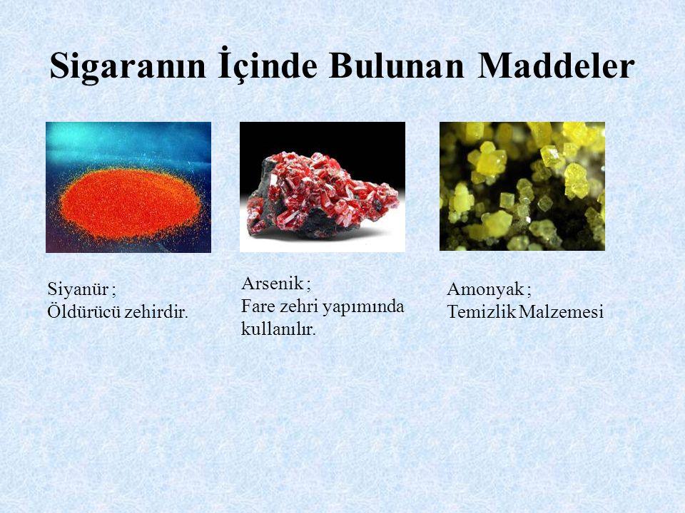 Naftalin ; Güve ilacında bulunur Kadmiyum ; Pil yapımında kullanılır Kurşun ; Zehirlidir, yüksek dozu ölümcüldür.