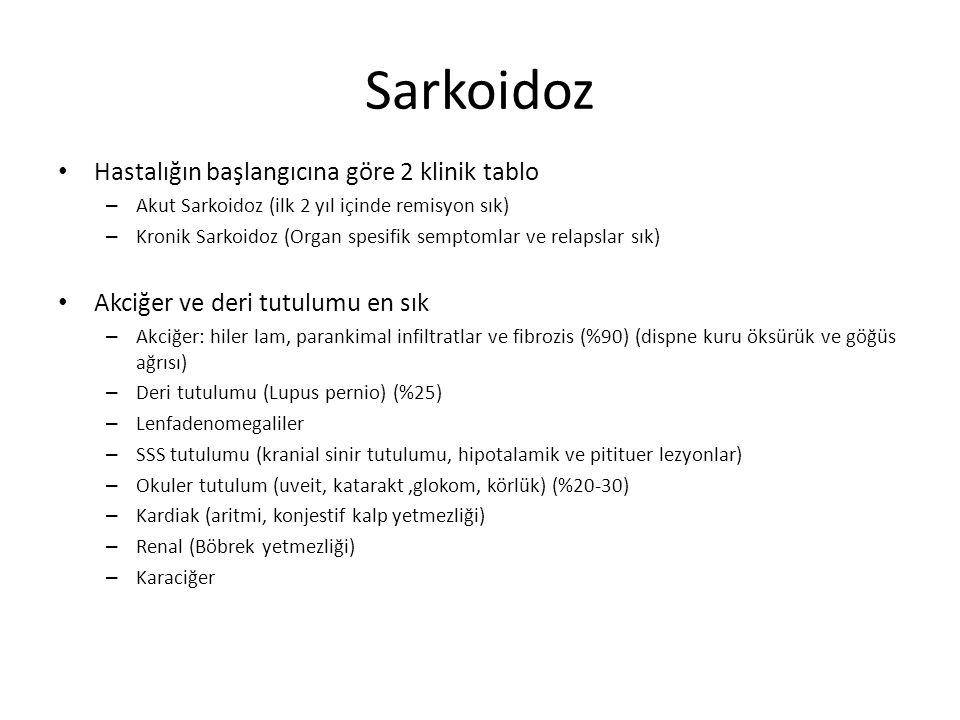 Sarkoidoz Hastalığın başlangıcına göre 2 klinik tablo – Akut Sarkoidoz (ilk 2 yıl içinde remisyon sık) – Kronik Sarkoidoz (Organ spesifik semptomlar v