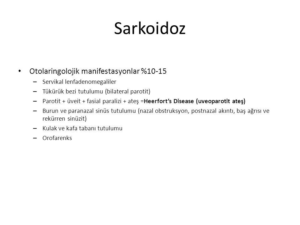 Sarkoidoz Otolaringolojik manifestasyonlar %10-15 – Servikal lenfadenomegaliler – Tükürük bezi tutulumu (bilateral parotit) – Parotit + üveit + fasial