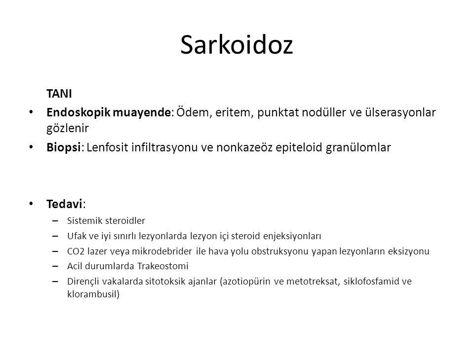 Sarkoidoz TANI Endoskopik muayende: Ödem, eritem, punktat nodüller ve ülserasyonlar gözlenir Biopsi: Lenfosit infiltrasyonu ve nonkazeöz epiteloid gra