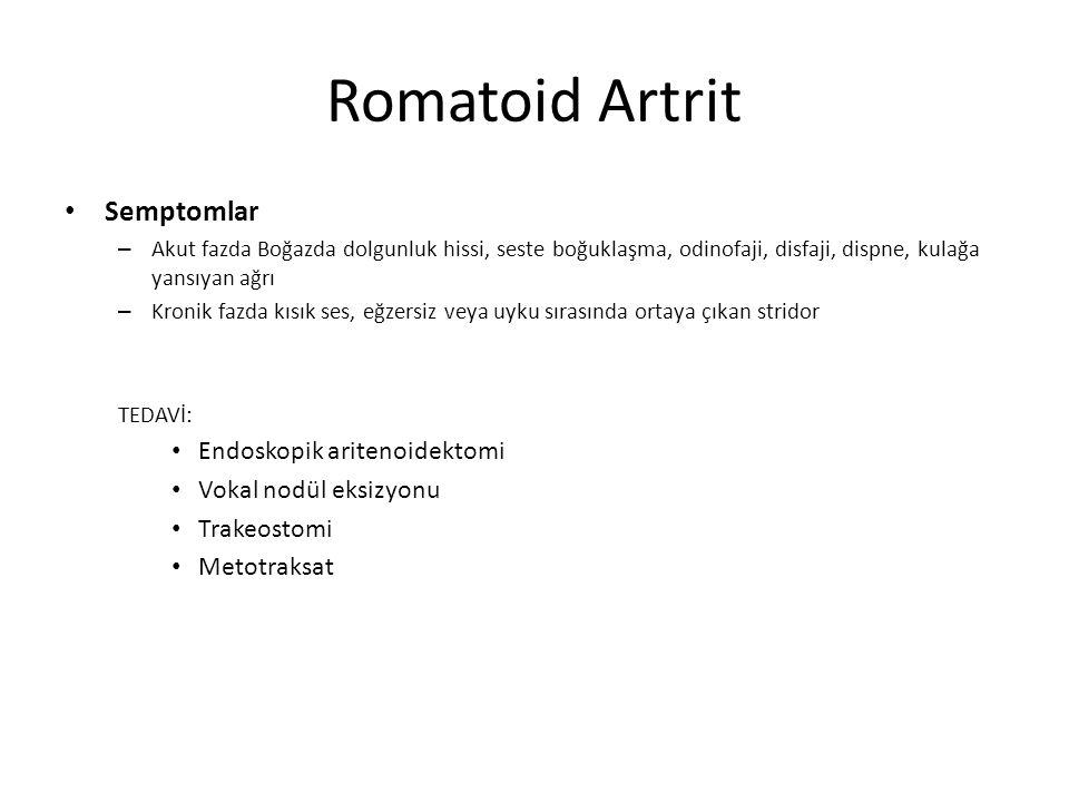 Romatoid Artrit Semptomlar – Akut fazda Boğazda dolgunluk hissi, seste boğuklaşma, odinofaji, disfaji, dispne, kulağa yansıyan ağrı – Kronik fazda kıs