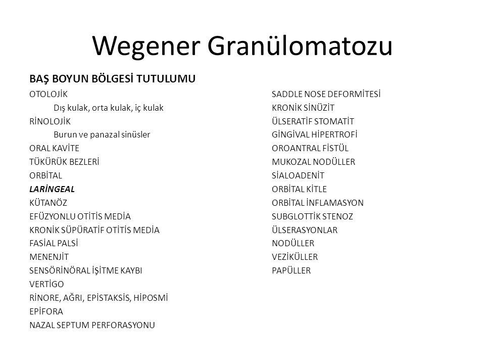 Wegener Granülomatozu BAŞ BOYUN BÖLGESİ TUTULUMU OTOLOJİK SADDLE NOSE DEFORMİTESİ Dış kulak, orta kulak, iç kulakKRONİK SİNÜZİT RİNOLOJİKÜLSERATİF STO