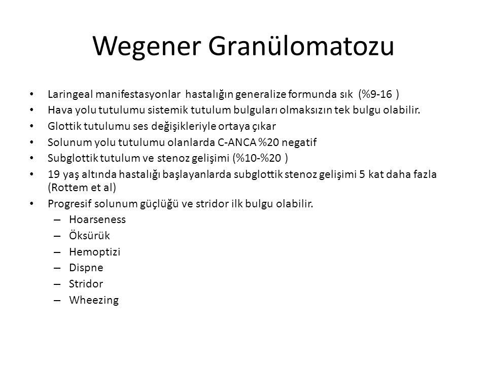 Wegener Granülomatozu Laringoskopi: Subglottik bölgede sirkumferensiyal daralmaya yol açan eritemli, frajik mukoza ve bazen granülom görünümü Stenotik segment subglottiste sınırlı veya trakeya doğru 3-4 cm uzanabilir.