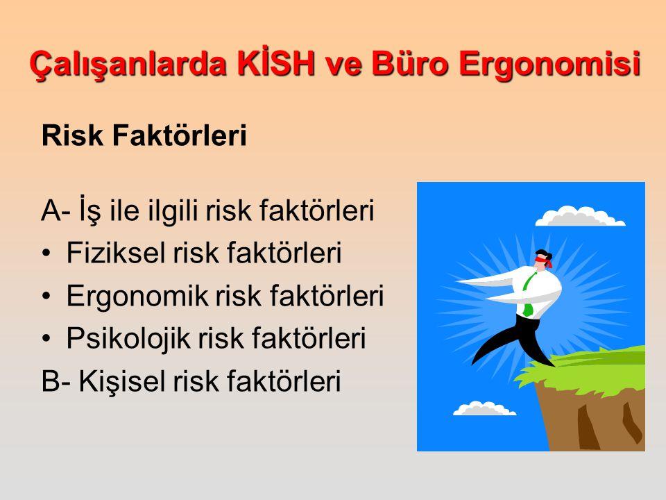 Çalışanlarda KİSH ve Büro Ergonomisi Risk Faktörleri A- İş ile ilgili risk faktörleri Fiziksel risk faktörleri Ergonomik risk faktörleri Psikolojik risk faktörleri B- Kişisel risk faktörleri
