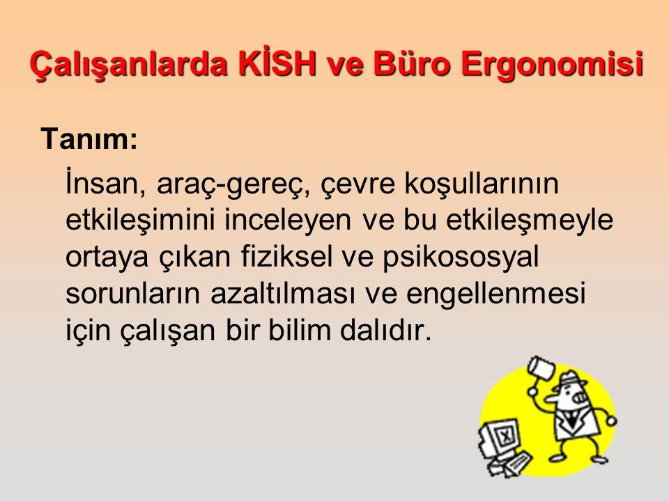 Çalışanlarda KİSH ve Büro Ergonomisi Türk Tabibleri Birliği, ilgili kurumları biraraya getirerek ortak çalışma platformu yaratmalıdır.