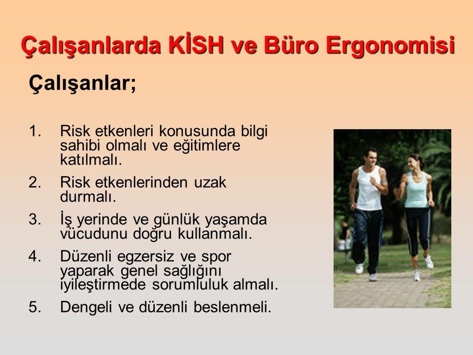 Çalışanlarda KİSH ve Büro Ergonomisi Çalışanlar; 1.Risk etkenleri konusunda bilgi sahibi olmalı ve eğitimlere katılmalı.