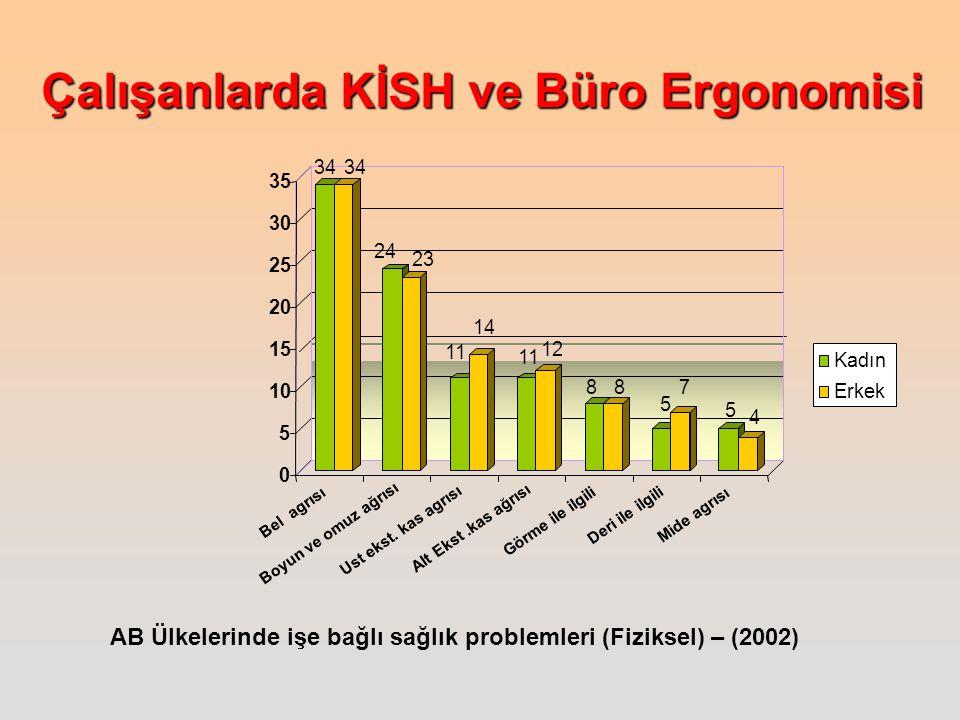 Çalışanlarda KİSH ve Büro Ergonomisi AB Ülkelerinde işe bağlı sağlık problemleri (Fiziksel) – (2002) 34 24 23 11 14 11 12 8 8 5 7 5 4 0 5 10 15 20 25