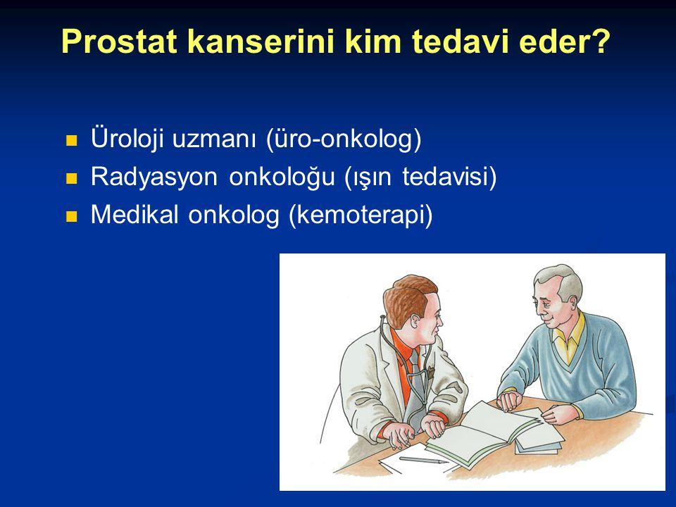 Prostat kanserini kim tedavi eder? Üroloji uzmanı (üro-onkolog) Radyasyon onkoloğu (ışın tedavisi) Medikal onkolog (kemoterapi)