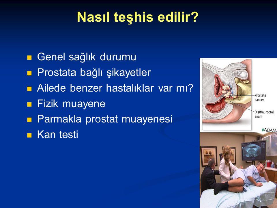 Nasıl teşhis edilir? Genel sağlık durumu Prostata bağlı şikayetler Ailede benzer hastalıklar var mı? Fizik muayene Parmakla prostat muayenesi Kan test
