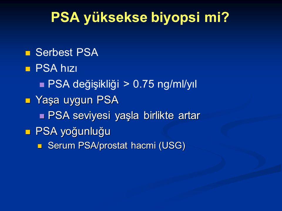 Serbest PSA PSA hızı PSA değişikliği > 0.75 ng/ml/yıl Yaşa uygun PSA Yaşa uygun PSA PSA seviyesi yaşla birlikte artar PSA seviyesi yaşla birlikte arta