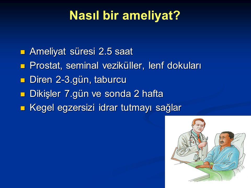 Ameliyat süresi 2.5 saat Ameliyat süresi 2.5 saat Prostat, seminal veziküller, lenf dokuları Prostat, seminal veziküller, lenf dokuları Diren 2-3.gün,