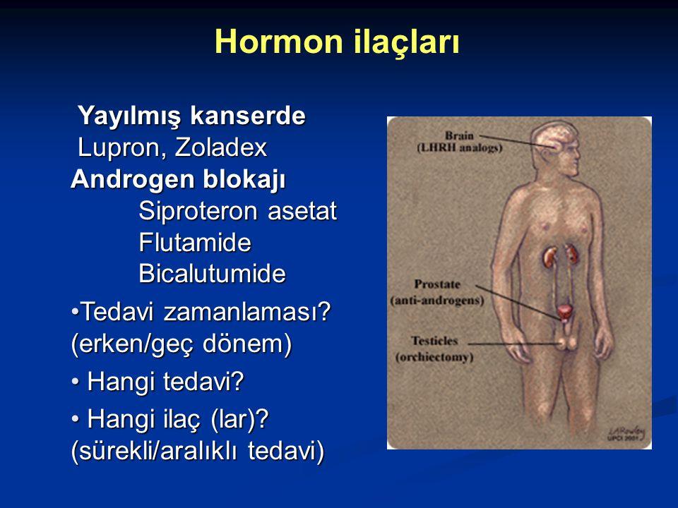 Yayılmış kanserde Yayılmış kanserde Lupron, Zoladex Lupron, Zoladex Androgen blokajı Siproteron asetat Flutamide Bicalutumide Tedavi zamanlaması? (erk