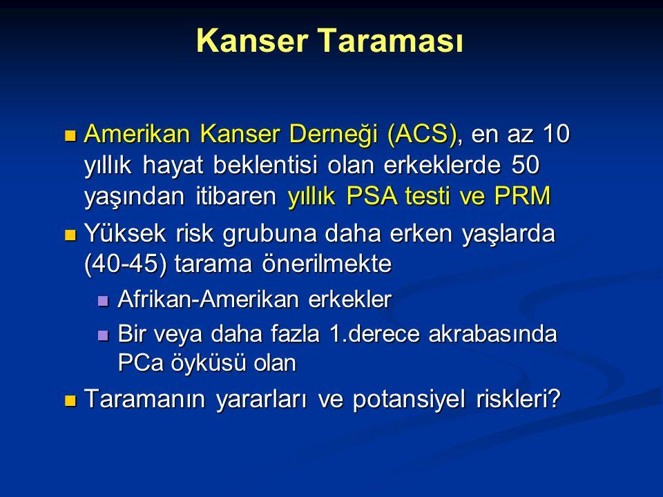 Amerikan Kanser Derneği (ACS), en az 10 yıllık hayat beklentisi olan erkeklerde 50 yaşından itibaren yıllık PSA testi ve PRM Amerikan Kanser Derneği (