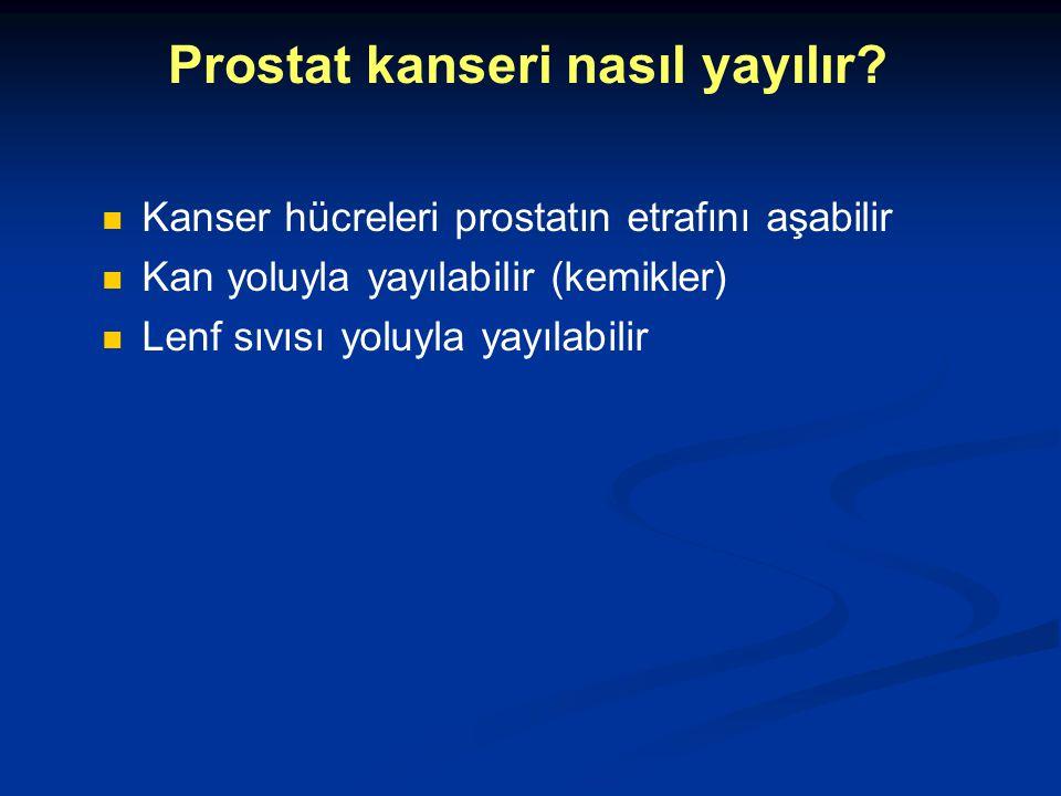 Prostat kanseri nasıl yayılır? Kanser hücreleri prostatın etrafını aşabilir Kan yoluyla yayılabilir (kemikler) Lenf sıvısı yoluyla yayılabilir