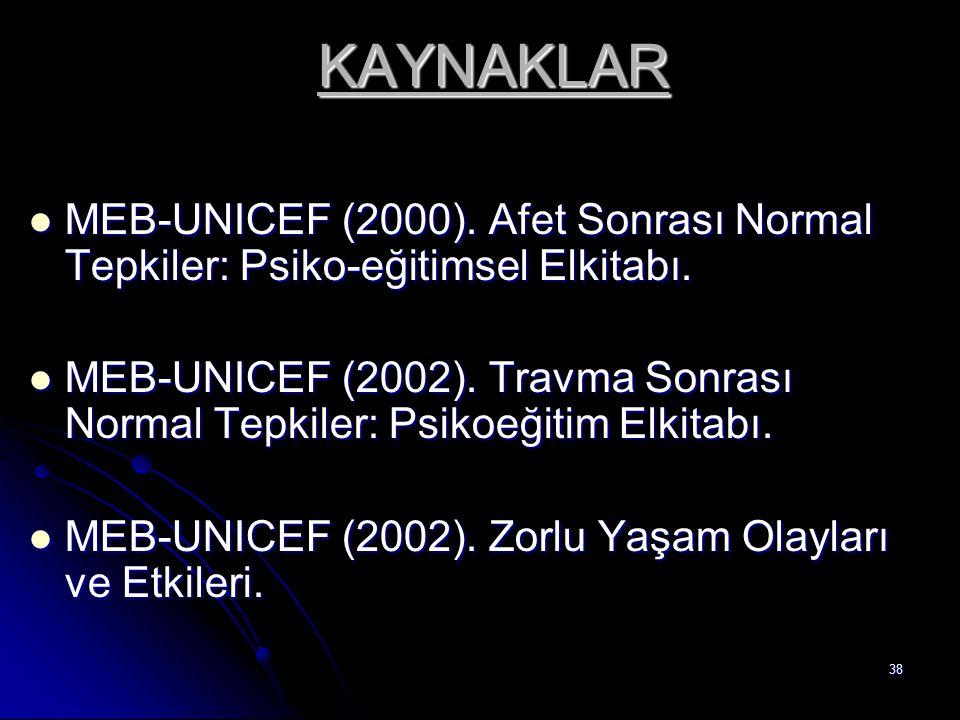 38 KAYNAKLAR MEB-UNICEF (2000). Afet Sonrası Normal Tepkiler: Psiko-eğitimsel Elkitabı. MEB-UNICEF (2000). Afet Sonrası Normal Tepkiler: Psiko-eğitims