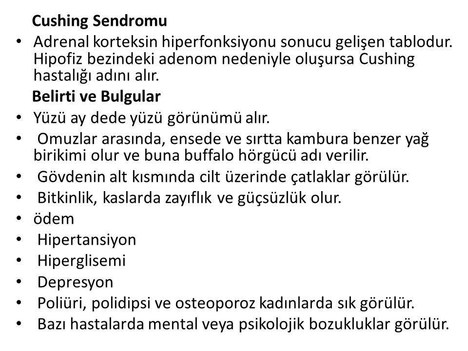 Cushing Sendromu Adrenal korteksin hiperfonksiyonu sonucu gelişen tablodur.