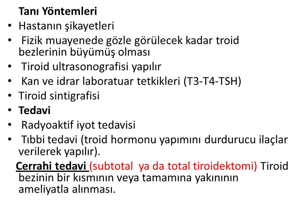 Tanı Yöntemleri Hastanın şikayetleri Fizik muayenede gözle görülecek kadar troid bezlerinin büyümüş olması Tiroid ultrasonografisi yapılır Kan ve idrar laboratuar tetkikleri (T3-T4-TSH) Tiroid sintigrafisi Tedavi Radyoaktif iyot tedavisi Tıbbi tedavi (troid hormonu yapımını durdurucu ilaçlar verilerek yapılır).