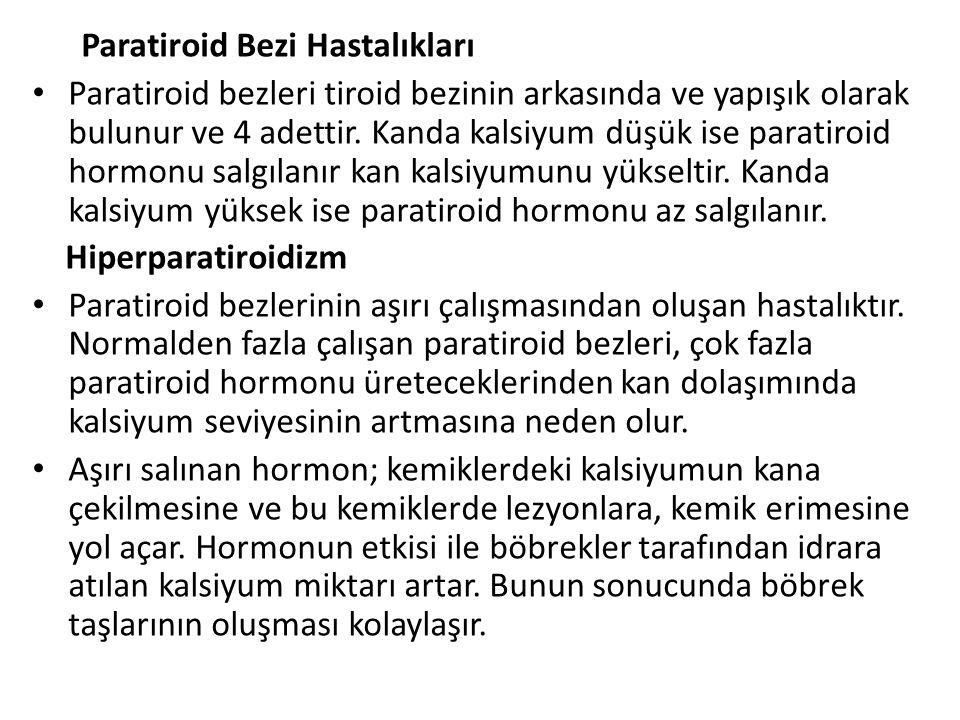 Paratiroid Bezi Hastalıkları Paratiroid bezleri tiroid bezinin arkasında ve yapışık olarak bulunur ve 4 adettir.