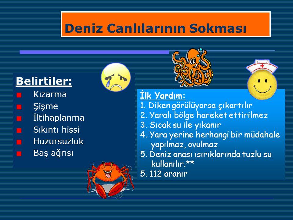 Deniz Canlılarının Sokması Belirtiler: Kızarma Şişme İltihaplanma Sıkıntı hissi Huzursuzluk Baş ağrısı İlk Yardım: 1. Diken görülüyorsa çıkartılır 2.