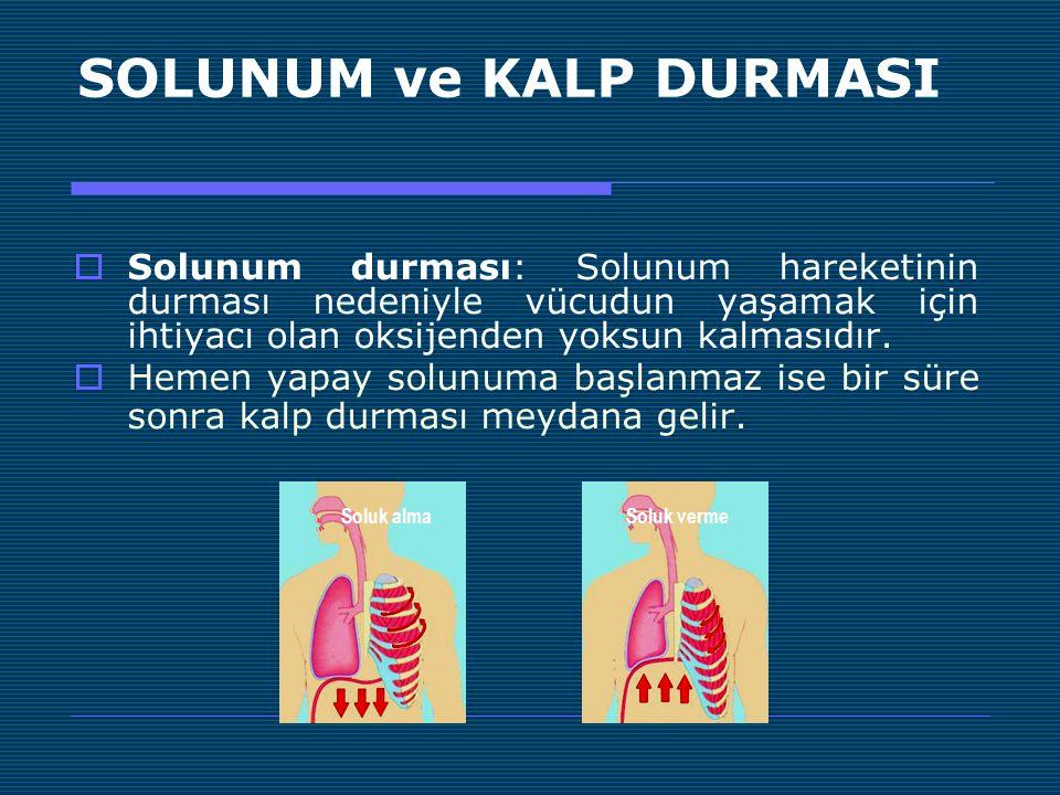 SOLUNUM ve KALP DURMASI  Solunum durması: Solunum hareketinin durması nedeniyle vücudun yaşamak için ihtiyacı olan oksijenden yoksun kalmasıdır.  He