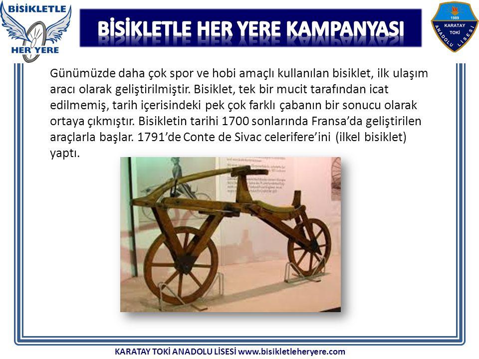 Günümüzde daha çok spor ve hobi amaçlı kullanılan bisiklet, ilk ulaşım aracı olarak geliştirilmiştir. Bisiklet, tek bir mucit tarafından icat edilmemi