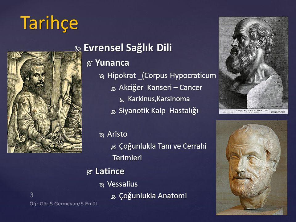  Evrensel Sağlık Dili  Yunanca  Hipokrat _(Corpus Hypocraticum )  Akciğer Kanseri – Cancer  Karkinus,Karsinoma  Siyanotik Kalp Hastalığı  Arist