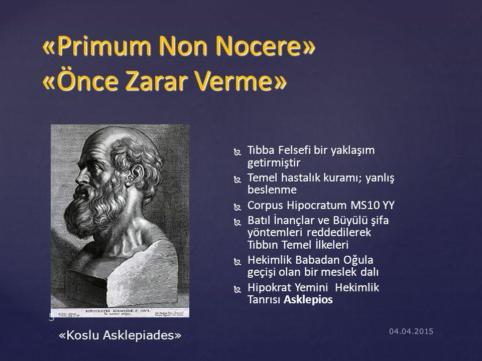 Tıbba Felsefi bir yaklaşım getirmiştir  Temel hastalık kuramı; yanlış beslenme  Corpus Hipocratum MS10 YY  Batıl İnançlar ve Büyülü şifa yöntemle