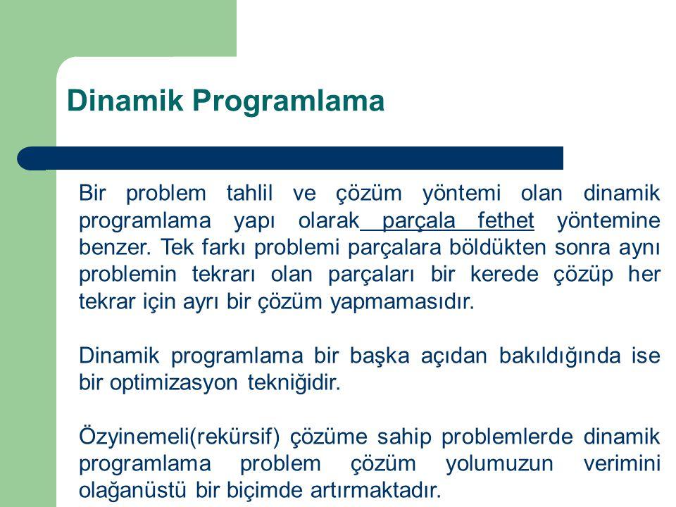 Dinamik Programlama Bir problem tahlil ve çözüm yöntemi olan dinamik programlama yapı olarak parçala fethet yöntemine benzer.