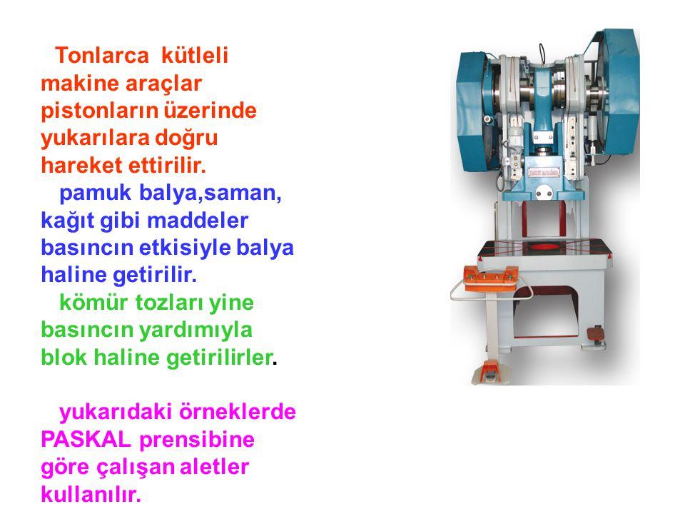 Tonlarca kütleli makine araçlar pistonların üzerinde yukarılara doğru hareket ettirilir.