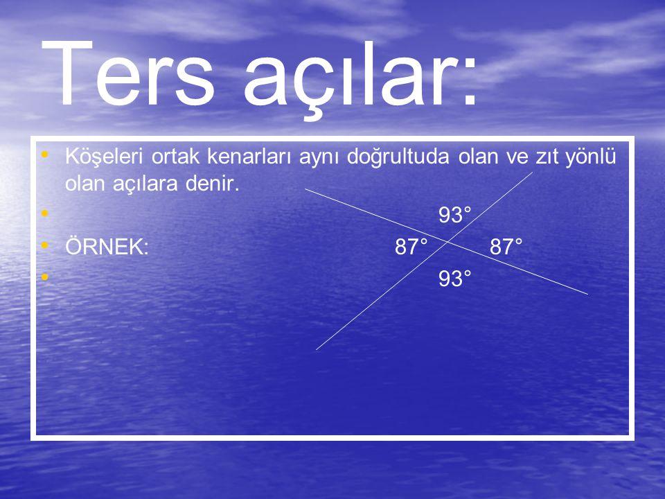 Ters açılar: Köşeleri ortak kenarları aynı doğrultuda olan ve zıt yönlü olan açılara denir. 93° ÖRNEK: 87° 87° 93°
