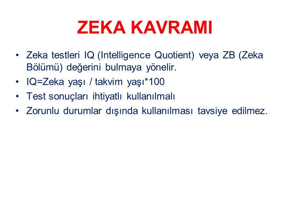 ZEKA KAVRAMI Zeka testleri IQ (Intelligence Quotient) veya ZB (Zeka Bölümü) değerini bulmaya yönelir. IQ=Zeka yaşı / takvim yaşı*100 Test sonuçları ih