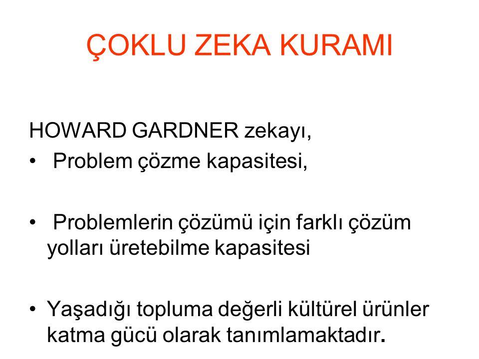 HOWARD GARDNER zekayı, Problem çözme kapasitesi, Problemlerin çözümü için farklı çözüm yolları üretebilme kapasitesi Yaşadığı topluma değerli kültürel