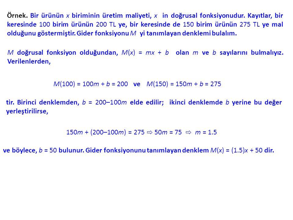 Örnek.Bir ürünün x biriminin üretim maliyeti, x in doğrusal fonksiyonudur.