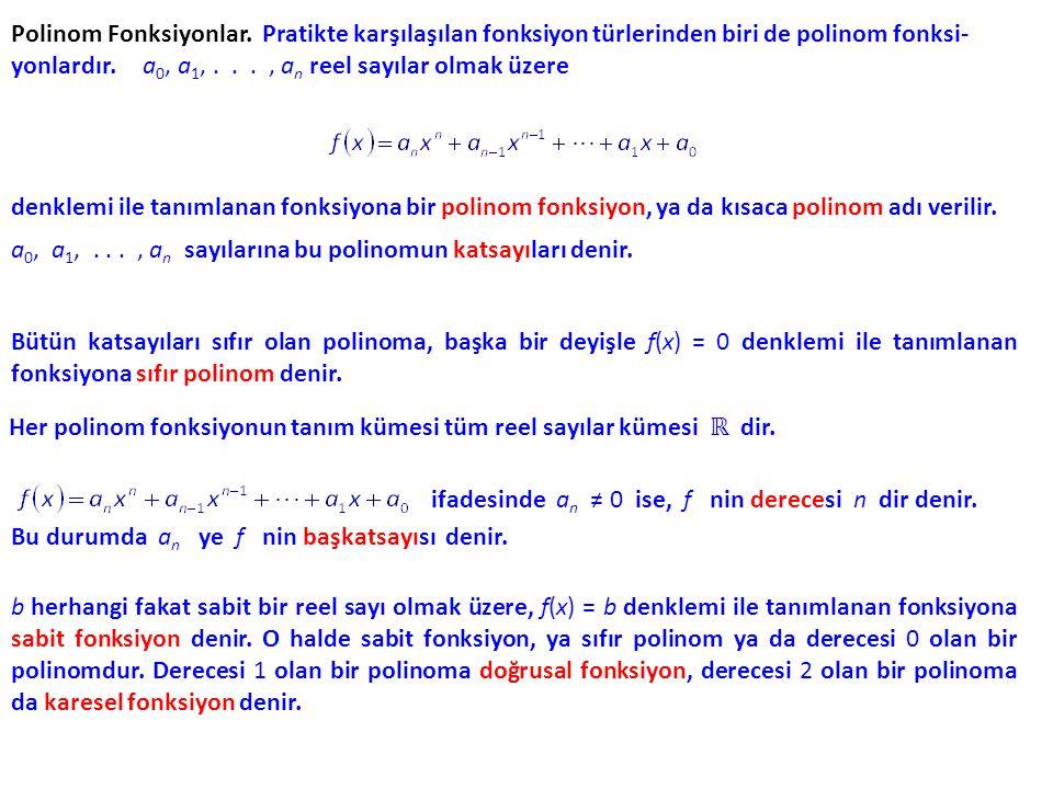 Sabit, doğrusal ve karesel fonksiyonları tanımlayan denklemler için alışılmış gösterimler aşağıdaki gibidir: Sabit fonksiyon: f(x) = b, b b ℝ Herhangi bir fonksiyonun grafiğini çizerken olduğu gibi, bir polinomun grafiğini çizerken de koordinat kesişimlerini belirlemek yararlı olur.
