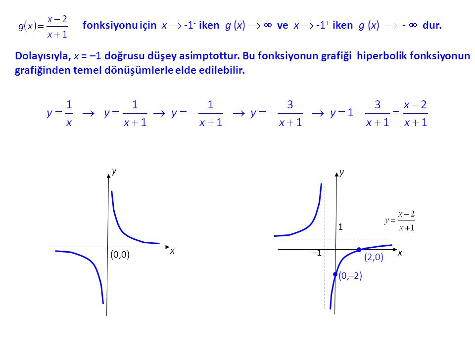 fonksiyonu için x  -1 - iken g (x) (x)   ve x  -1 + iken g (x)  -  dur.